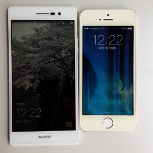 Ascend P7 / iPhone 5s 表側